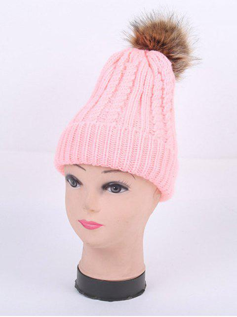 buy Winter Cable Knit Pom Hat - PINK  Mobile