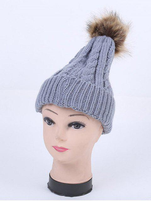 Winter-Stripy Zopfmuster Pom Hut - Grau  Mobile