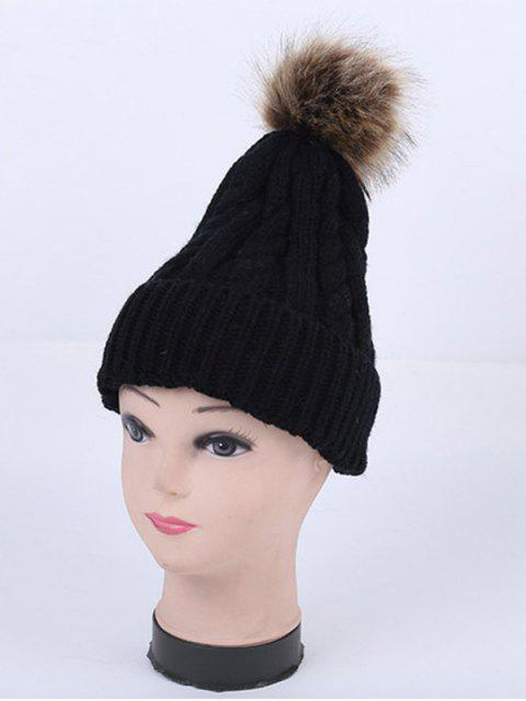hot Winter Stripy Cable Knit Pom Hat -   Mobile