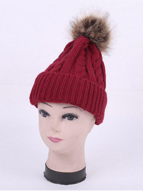 shops Winter Stripy Cable Knit Pom Hat - WINE RED  Mobile