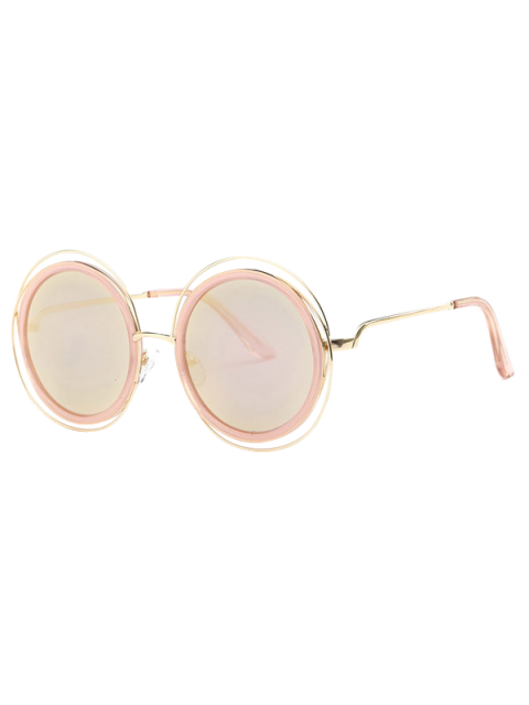 new Cut Out Round Mirrored Sunglasses - ROSE GOLD  Mobile