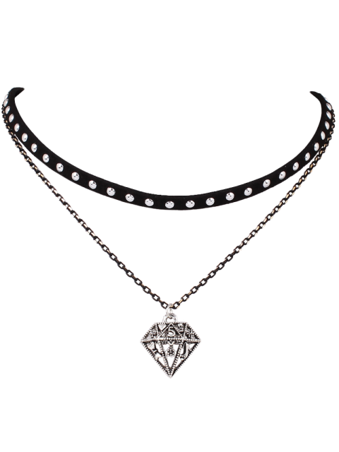 women's Hollowed Diamond Layered Choker - BLACK  Mobile
