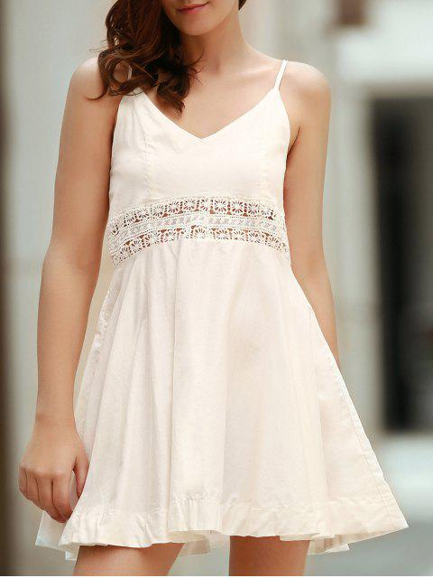 shop Zippered Hollow Out Spaghetti Straps Sleeveless Dress - WHITE S Mobile