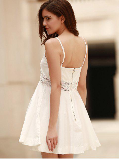 fashion Zippered Hollow Out Spaghetti Straps Sleeveless Dress - WHITE 2XL Mobile