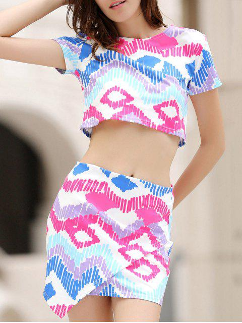 shops Argyle Print Short Sleeve Crop Top and Mini Skirt Suit - COLORMIX S Mobile