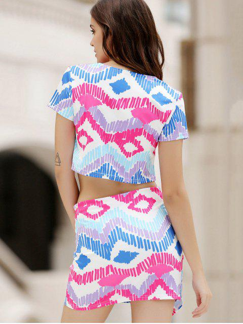 latest Argyle Print Short Sleeve Crop Top and Mini Skirt Suit - COLORMIX M Mobile