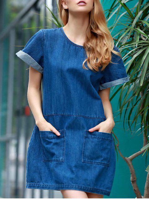Hemming doble Bolsillos Ronda de cuello corto vestido de dril de algodón de la manga - Azul S Mobile