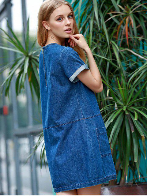 latest Hemming Double Pockets Round Neck Short Sleeve Denim Dress - BLUE 2XL Mobile