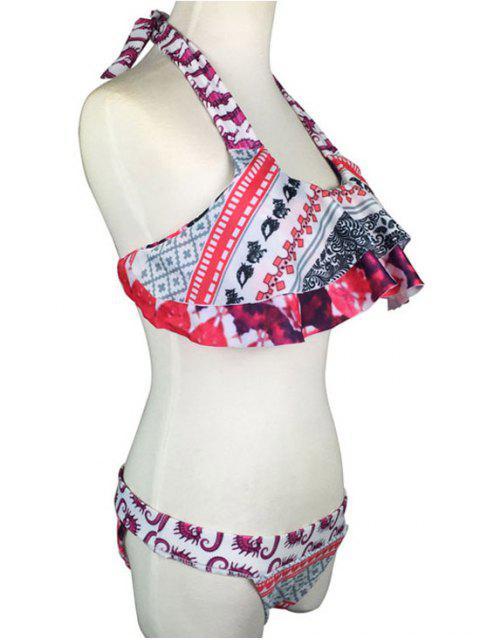 ladies Geometric Pattern Straps Bikini Set - PINK S Mobile