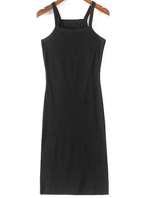 fashion Solid Color Side Slit Straps Sleeveless Dress - BLACK M Mobile