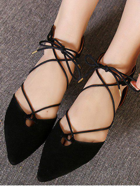 fancy Lace-Up Pointed Toe Black Flat Shoes - BLACK 37 Mobile
