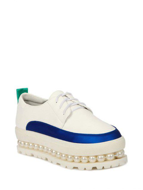 outfits Faux Pearl Color Block Platform Shoes - WHITE 37 Mobile