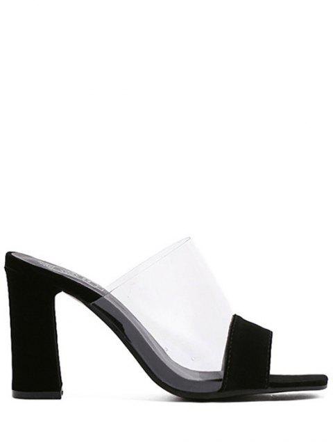hot Transparent Splicing Chunky Heel Slippers - BLACK 39 Mobile