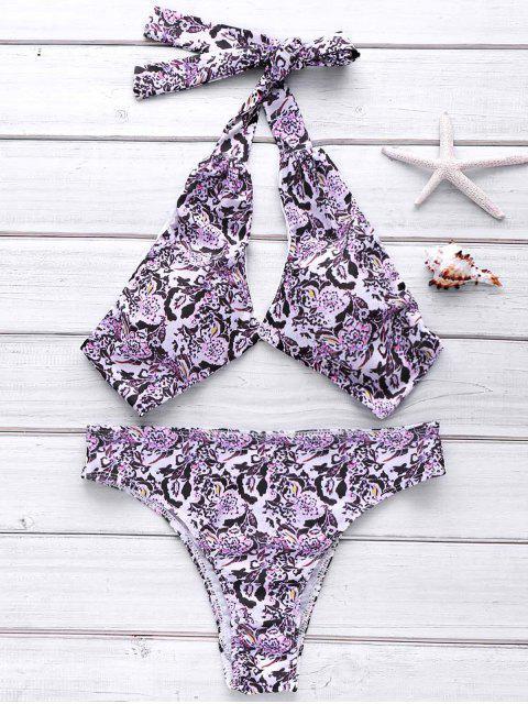 fashion Full Floral Halter Bikini Set - COLORMIX L Mobile