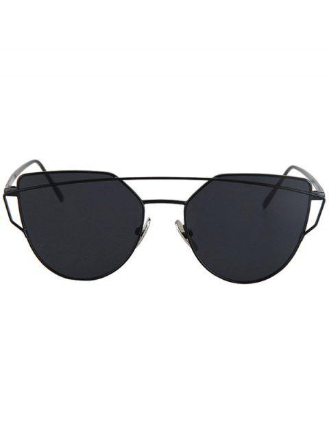 fashion Metal Bar Black Frame Sunglasses - BLACK  Mobile