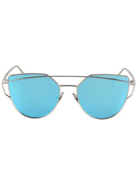 shops Metal Bar Silver Frame Sunglasses - LIGHT BLUE  Mobile