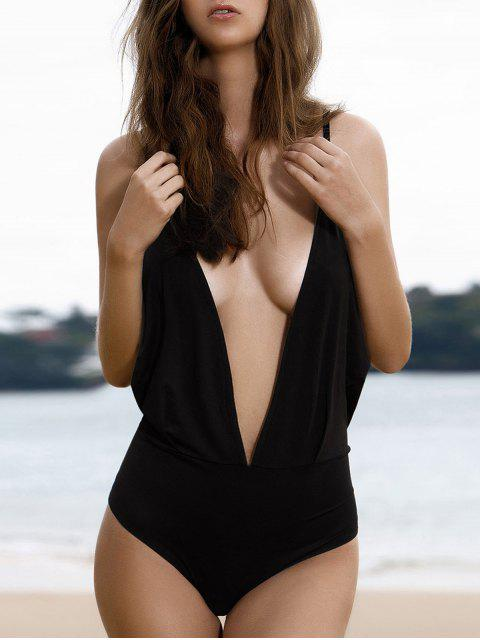 shops Plunge Backless One-Piece Swimwear - BLACK M Mobile