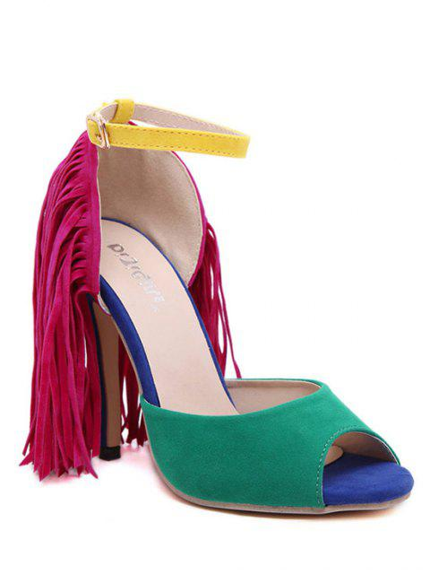 women's Color Block Peep Toe Fringe Sandals - GREEN 39 Mobile