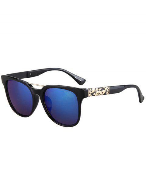 ladies Flower Shape Bulge Black Frame Sunglasses - DEEP BLUE  Mobile