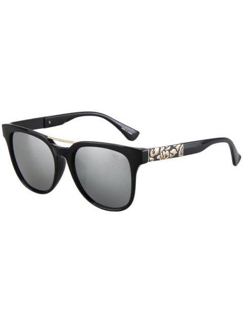 Blumen-Form-Bulge-Schwarz-Rahmen-Sonnenbrille - silber  Mobile