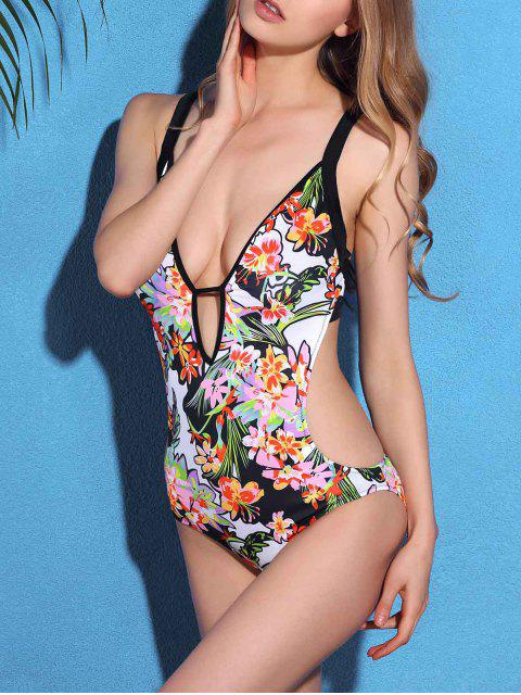 fashion Floral Cami Cut Out One-Piece Swimwear - BLACK L Mobile