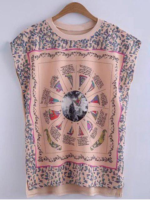 Impresa cuello redondo dobladillo alto-bajo de la camiseta - Rosa amarillento L Mobile