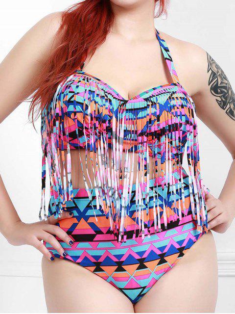 Bikiní Moda de Poliséter Cintura Alta Diseño Borlas Para las Mujeres - Púrpura XL Mobile