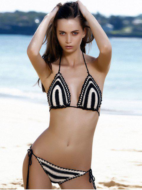 shop Color Block Stripe Tie Side Thong Bikini - STRIPE ONE SIZE Mobile