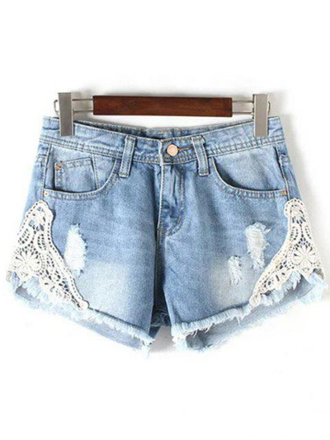 buy Lace Detail Frayed Denim Shorts - LIGHT BLUE S Mobile