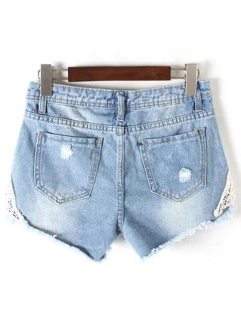 buy Lace Detail Frayed Denim Shorts - LIGHT BLUE S Mobile