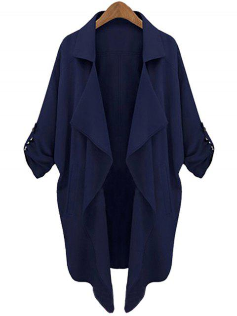 shop Long Sleeve Solid Color Trench Coat - CADETBLUE M Mobile