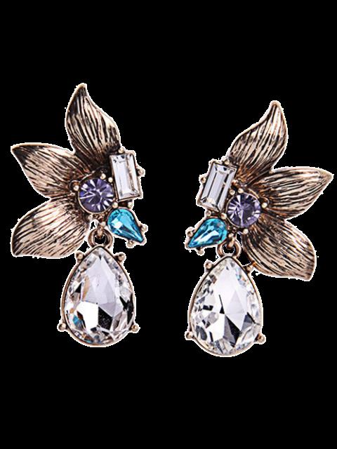 Pendientes flor simétrica diamantes de imitación - Dorado  Mobile