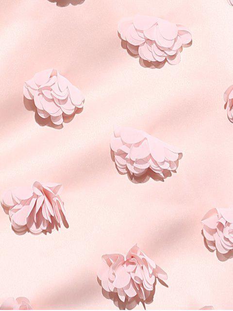 ladies Pink Stereo Flower Halter Semi Formal Dress - PINK S Mobile