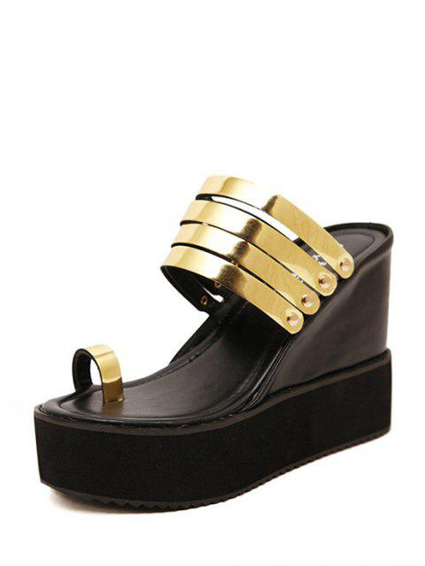 hot Toe Ring Platform Wedge Heel Slippers - GOLDEN 37 Mobile
