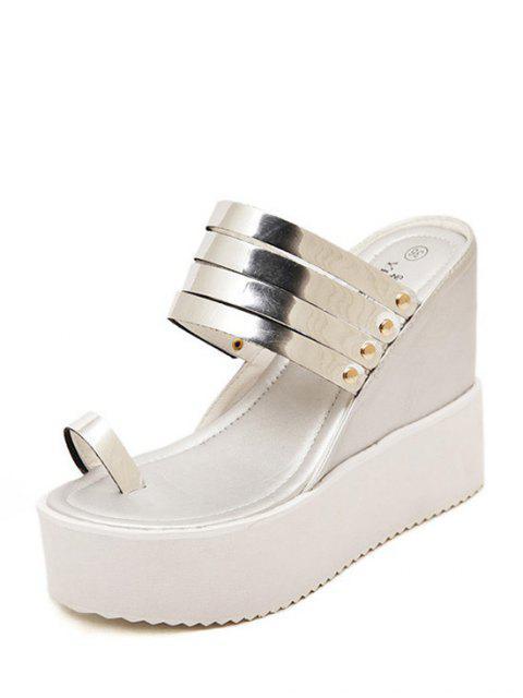 buy Toe Ring Platform Wedge Heel Slippers - SILVER 36 Mobile