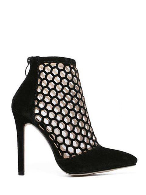 shops Openwork Pointed Toe Stiletto Heel Pumps - BLACK 36 Mobile