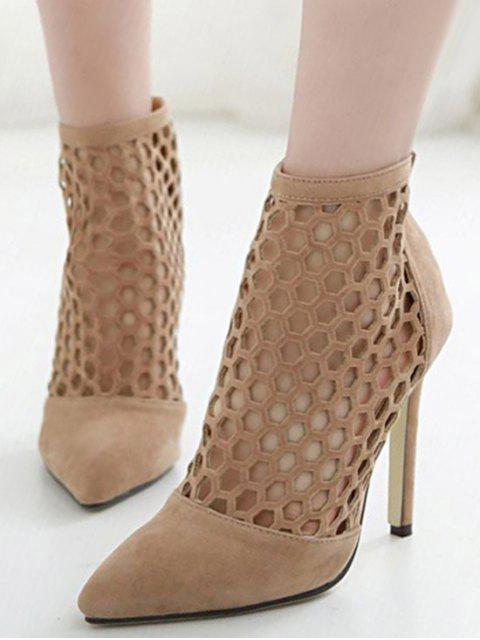 online Openwork Pointed Toe Stiletto Heel Pumps - APRICOT 36 Mobile