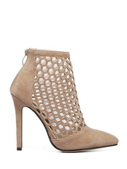 shop Openwork Pointed Toe Stiletto Heel Pumps - APRICOT 39 Mobile