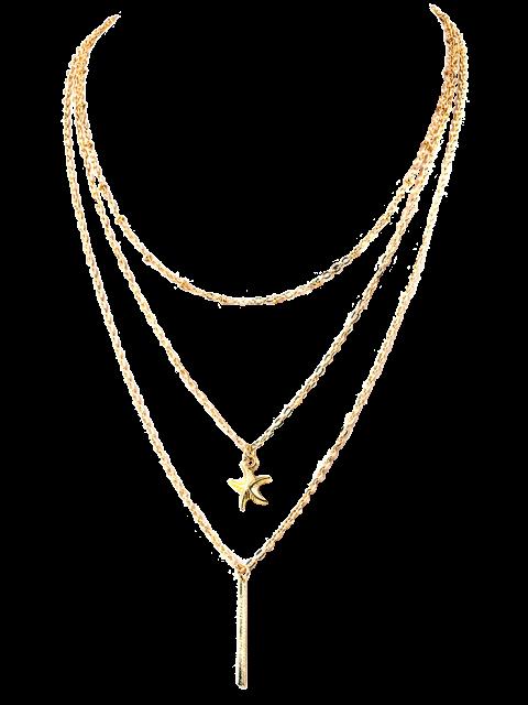 women Starfish Layered Pendant Necklace -   Mobile