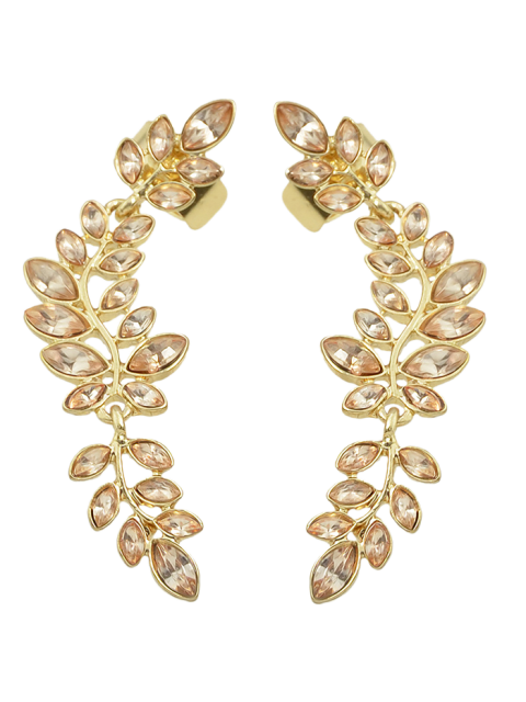 new Fake Crystal Leaf Shape Ear Cuffs - GOLDEN  Mobile
