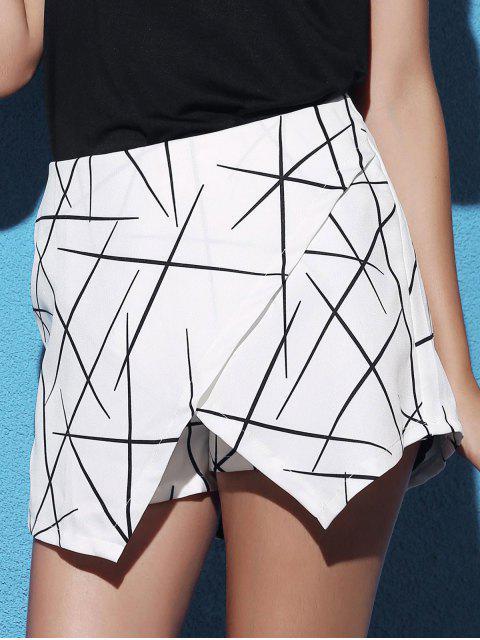 sale Striped Irregular Hem High Waist Shorts - WHITE M Mobile
