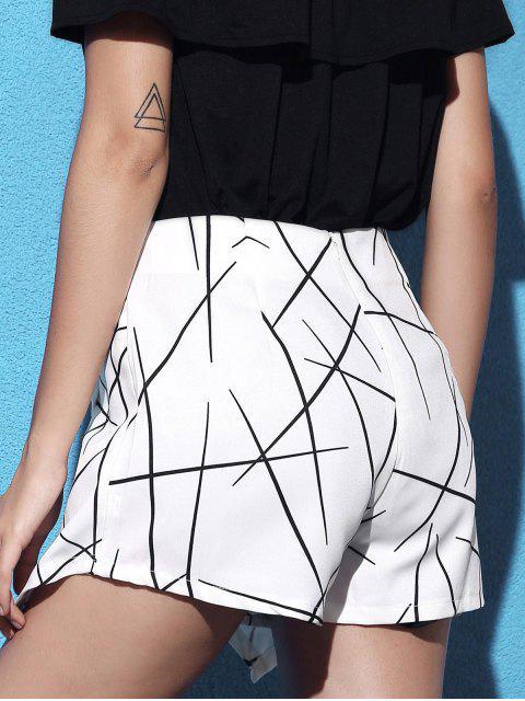 affordable Striped Irregular Hem High Waist Shorts - WHITE L Mobile