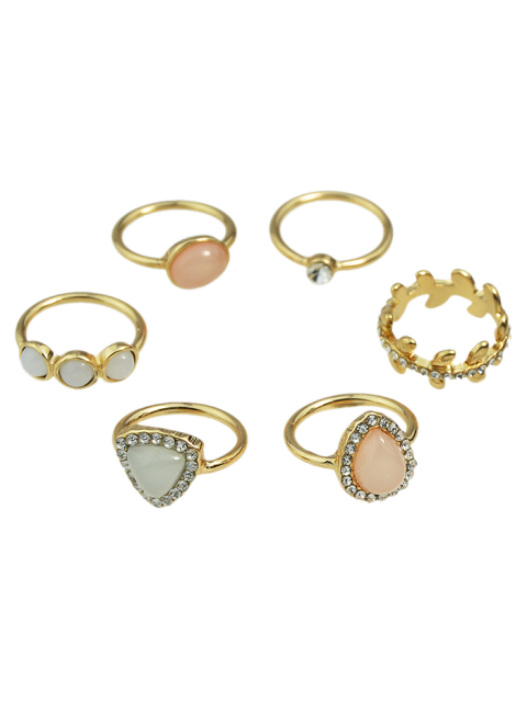 women Faux Opal Rhinestone Water Drop Rings - GOLDEN ONE-SIZE Mobile