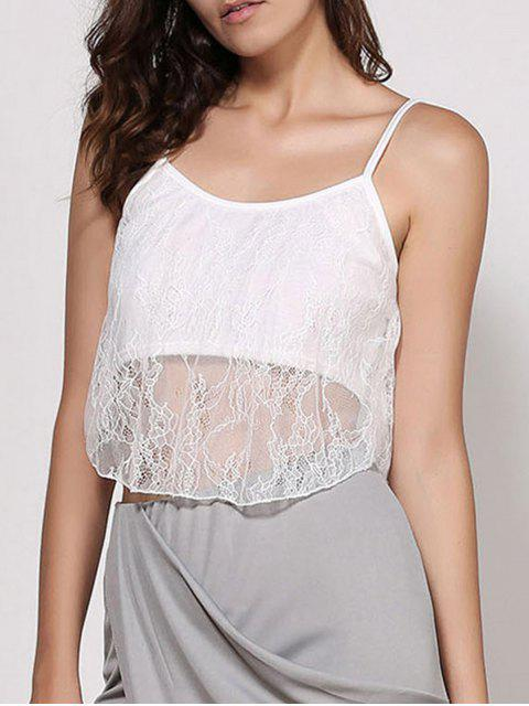 buy Lace Spaghetti Strap Crop Top - WHITE S Mobile