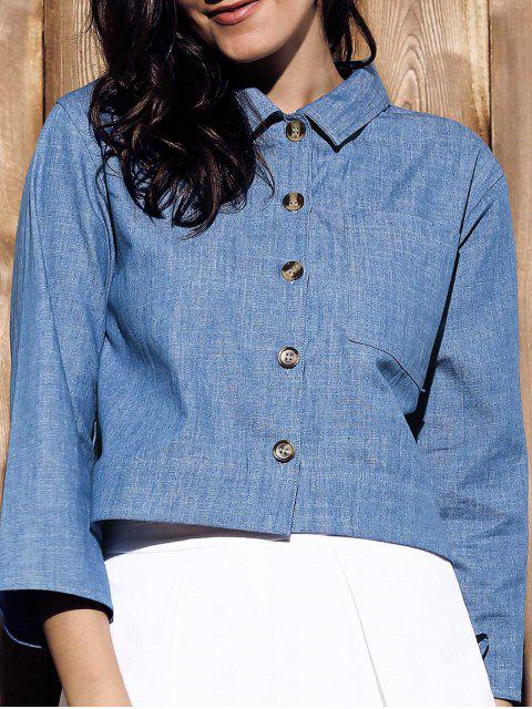 shops Cropped Denim Shirt - BLUE L Mobile