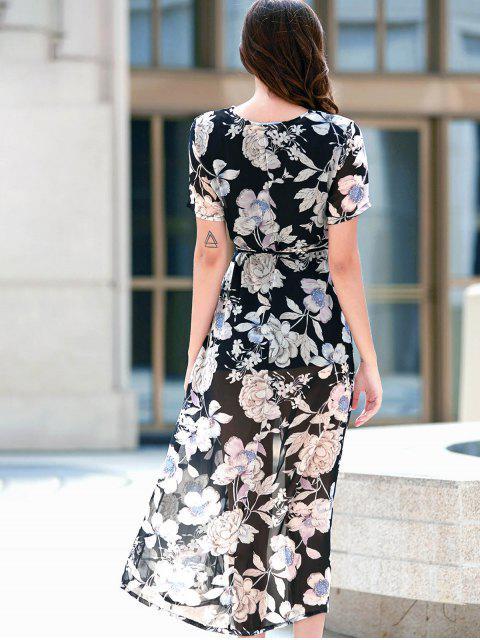 shop Flower Print High Slit Plunging Neckline Dress - BLACK S Mobile
