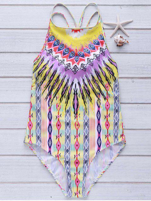 trendy Color Block Stripe Cute High Neck Swimsuit - COLORMIX L Mobile