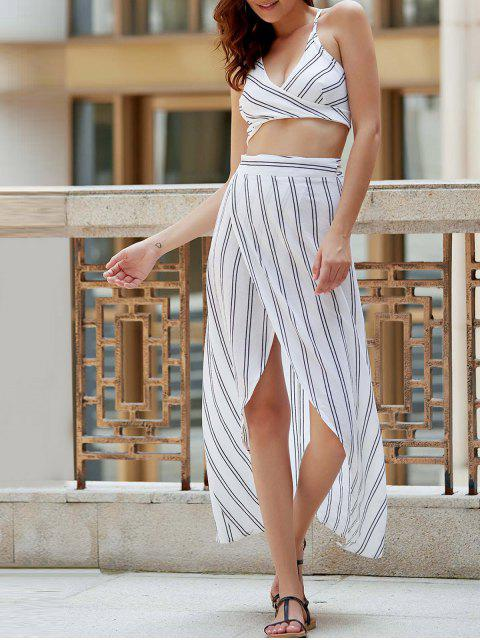 women's Striped Spaghetti Straps Backless Crop Top - WHITE S Mobile