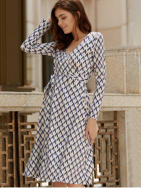 affordable Long Sleeve Houndstooth Print Wrap Dress - WHITE S Mobile