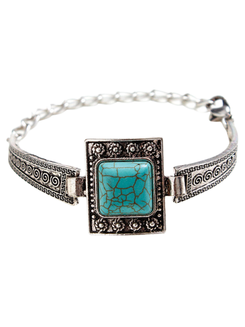 best Faux Turquoise Square Boho Bracelet - SILVER  Mobile